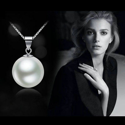 white Freshwater Pearl Fashion Genuine Pendant Necklace Silver Chain Jewelry