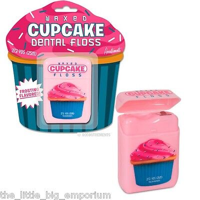 Cupcake Flavoured Waxed Dental Floss - Fun Bathroom Gift Pink Frosting Flavour