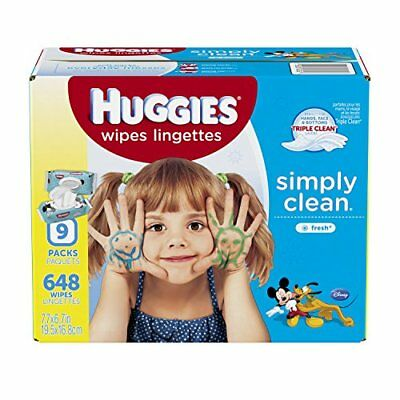 HUGGIES Simply Clean Baby Wipes, Fresh Scent, Soft Pack , 648 Ct (Packaging May