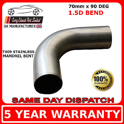 70mm x 90 Degree Mandrel Exhaust Bend T409 Stainless Steel 1.5D 1.5mm Wall