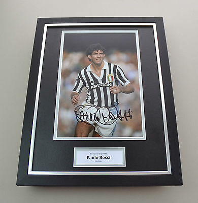 Paolo Rossi Signed Photo Framed 16x12 Juventus Autograph Memorabilia Display COA