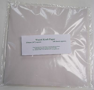 "Waxed paper - 100 sheet pack 10"" square Kraft Food Wrap"