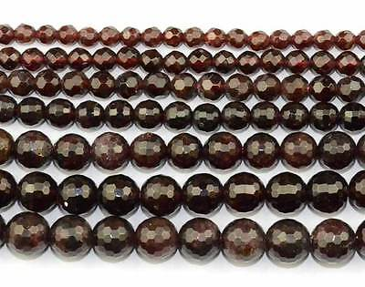Natural Red Garnet Cut Faceted Round Gemstone Beads 15''
