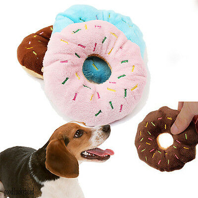 Hot  Lovely Pet Dog Puppy Cat Squeaker Quack Sound Toy Chew Donut Play Toys