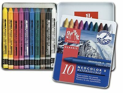 Caran Dache Neocolor II Watersoluble Wax Oil Crayon Pastels Art Sketch Set Of 10