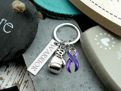 WARRIOR Boxing Glove Key PURPLE Awareness Crohns Disease Ulcerative Colitis #P3