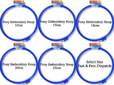 Pony Blue Plastic Embroidery Hoops Screw Tight Clamp 10 15 18 20 25 cm All Sizes