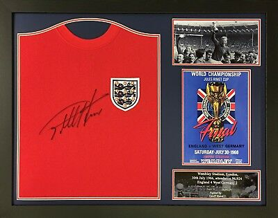 Geoff Hurst Framed Signed 1966 World Cup England Football Shirt See Proof & Coa