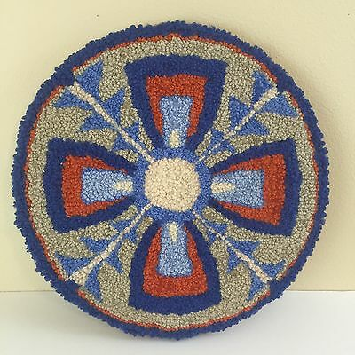 Vintage Wall Art Circle Southwest Boho Flower Wool Orange Blue