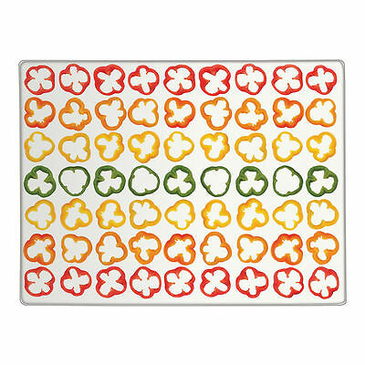 Sliced Peppers Clear Glass Chopping Board Kitchen Food Worktop Saver Protector