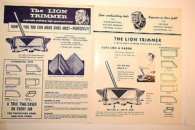 2 LION Mitre TRIMMER MULTI-DUTY HIGH SPEED END CUTTER FLYER & BROCHURE #RR967
