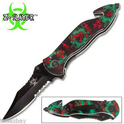 Green Skull Zombie Slayer GRIP HANDLE ASSISTED Blade OPEN RESCUE Switch KNIFE #2