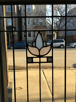 "Antique Arts & Crafts Stained Leaded Glass Window / Door 60"" by 18"""