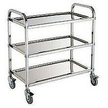 3 Tier Stainless Steel Kitchen Dining Food Trolley Serving Utility Bench Cart E0