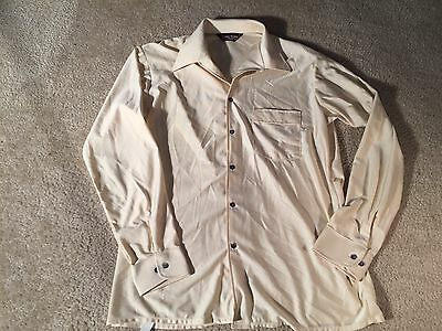 Vintage Van Heusen Qiana Biege 1970s Disco LS Nylon Dress Shirt - Sz. L