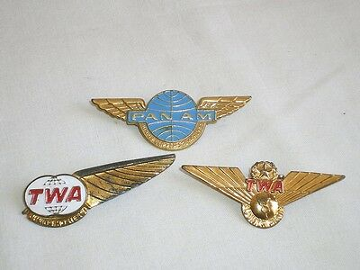 3 Anciennes Broches Insignes Aviation Panam Twa