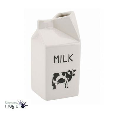 *Retro Cow Design Ceramic White Milk Carton Jug Boxed Novelty Kitchen Vase Gift*