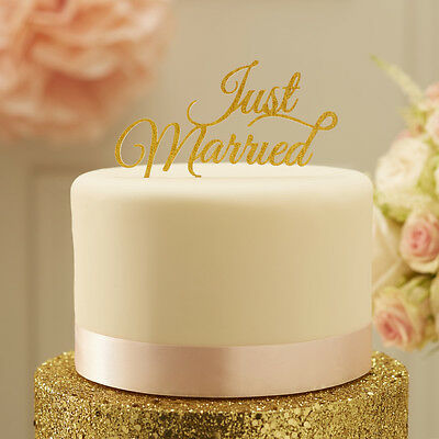Sparkling Glitter GOLD JUST MARRIED Word Wedding CAKE TOPPER Bunting Reception