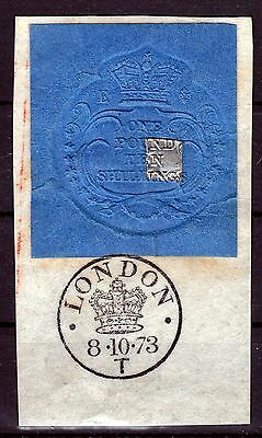 Gb 1873  Revenue  Stamp 1 Pound & 10  Shillings