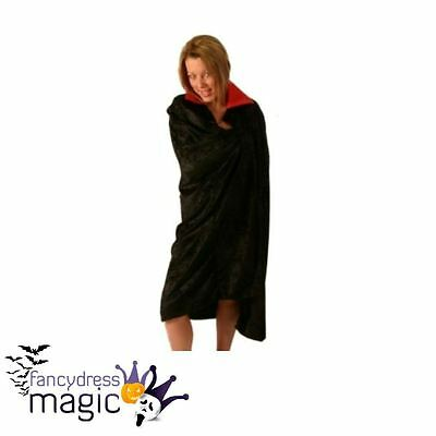 *Velvet Black Cloak With Red Collar Vampire Cape Halloween Fancy Dress Costume*