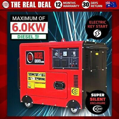 BBT 6000W Max/5500W Rated Diesel Generator Silent Enclosure 240V Electric Start