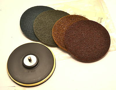 "NEW 5 pc 3M Scotch-Brite 905S Surface Conditioning 5"" Holder & Discs Pack WL65.6"