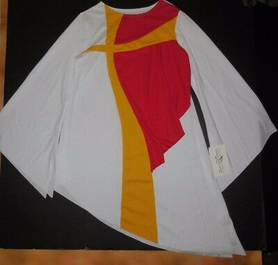 NWT Praise Liturgical Dance Bell Sleeve Top Flag Gold Cross Inset Ladies Small