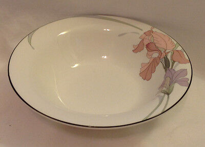 "Noritake New Decade Cafe Du Soir #9091 Cereal / Soup Bowl 7"" Dia Gray Rim Floral"