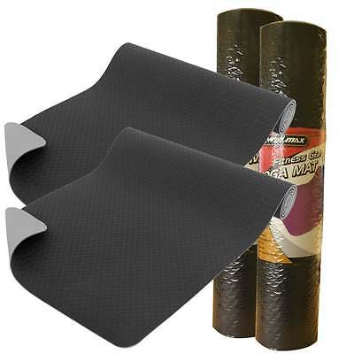 Pair Of Yoga Mats Exercise Fitness Workout Pilates Gym Camping 6mm Non Slip BNIB