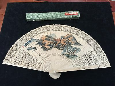 Chinese Carved Wood Landscape Watercolor Red Seal Calligraphy Silk Tassel Fan