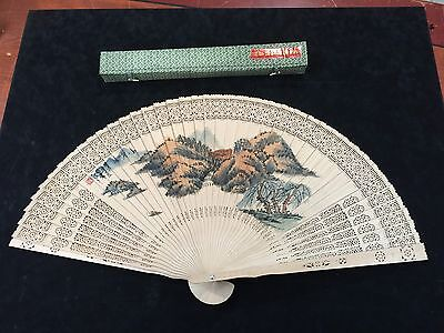 Chinese Japanese Carved Wood Watercolor Red Seal Calligraphy Silk Tassel Fan