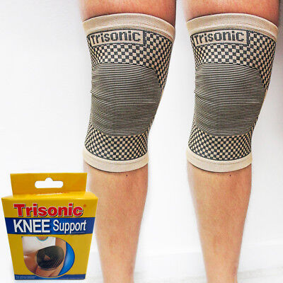 2 Knee Brace Support Elastic Compression Sleve Wrap Muscle Sports Relief SM L XL