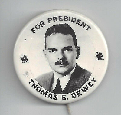 Unusual Variety 1944 Thomas Dewey Real Photo Picture Campaign Button