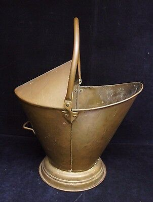 Antique Handled Coal Scuddle Bucket Mid Cent. Copper Fireplace Tool Bucket Ash