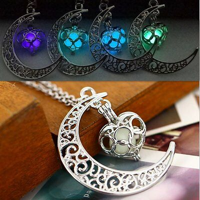 Luminous Moon Heart Pendant Blue Glow In the Dark Choker Necklace Women Jewelry