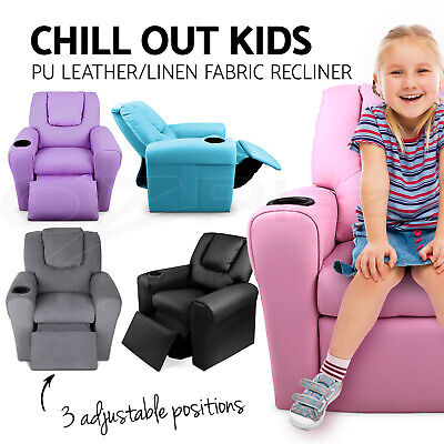 Kid Recliner Sofa Children Kids Lounge Chair Leather Arms Black Pink Purple
