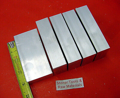 """5 Pieces 5/8"""" X 2"""" ALUMINUM 6061 FLAT BAR 4"""" long T6511 Solid Plate Mill Stock"""