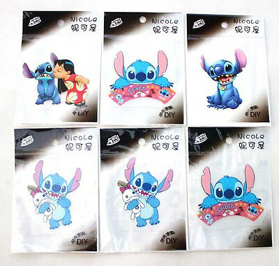 Lot Blue Lilo & Stitch kids lovely patch iron on Clothes DIY accessory Transfers