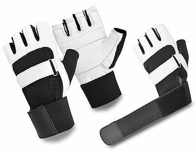 Leather Weight Lifting Gloves Fitness Gym Training Workout Padded Fingerless