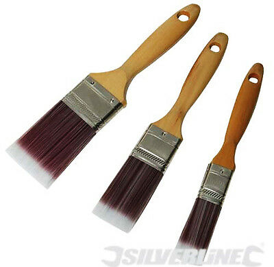 Silverline 3 Piece Synthetic Paint Prush Set Painter Decorater Tools