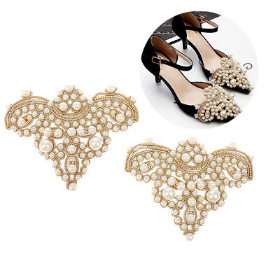 Gold Pair Sewing On Pearl Rhinestone Applique DIY Wedding Dress Shoe Clips