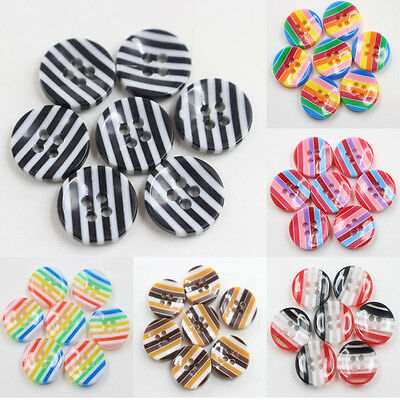 100 Pcs Mixed Resin Buttons Stripe Round 4-Holes Sewing Scrapbooking DIY