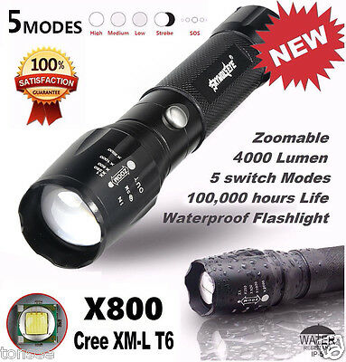 4000LM Zoomable XML T6 LED 5 modes CREE Lampe de Poche Torch Flashlight 18650