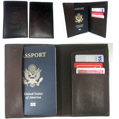 Travel Leather US Passport Cover ID Holder Wallet Brown Case Protector Organizer