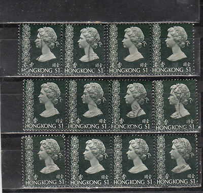 Lot 895-Hong Kong- Lot of twelve $1 stamps-QEll