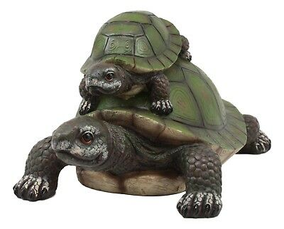 Coastal Beach Giant Turtle Tortoise Piggybacking Baby Hatchling Figurine Statue