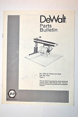 "BLACK & DECKER DEWALT PARTS BULLETIN No. 7730 10"" RADIAL ARM SAW TYPE 1 #RR446"