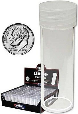(20) BCW Round Dime Coin Tubes Clear with Screw On Lids