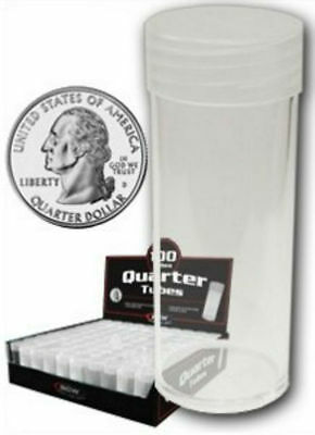 (20) BCW Round Quarter Coin Tubes Clear with Screw On Lids
