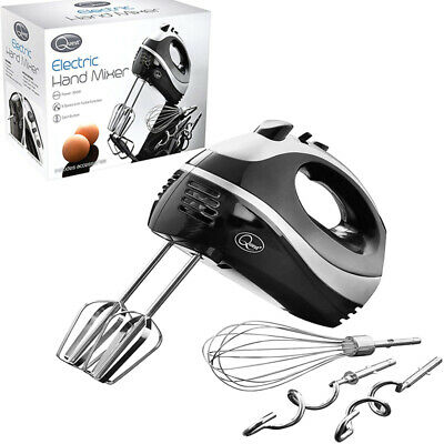 5 Speed 300w Red Hand Held Food Electric Whisk Mixer Blender Beater Dough Hooks
